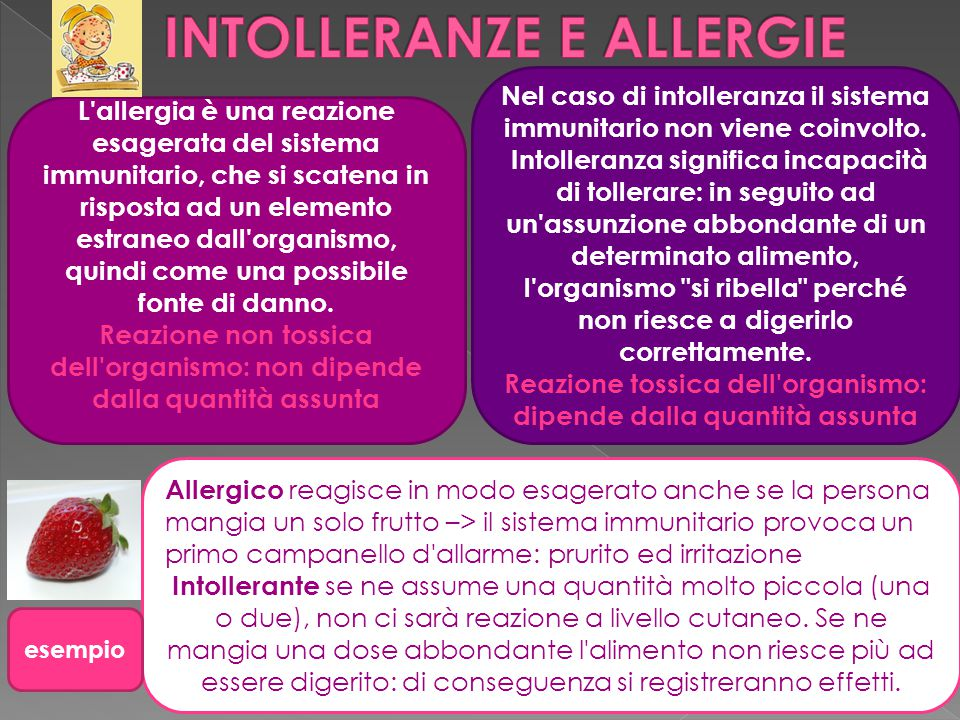 L'allergia è una reazione esagerata del sistema immunitario, che si scatena in risposta ad un elemento estraneo dall'organismo, quindi come una possib