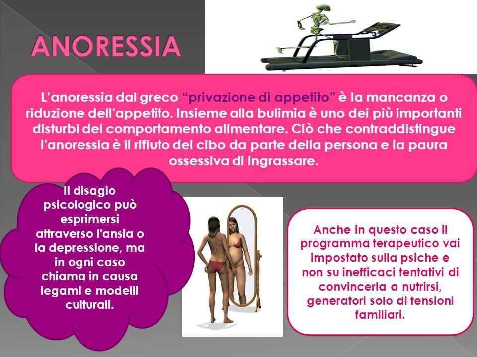 L'anoressia dal greco privazione di appetito è la mancanza o riduzione dell appetito.
