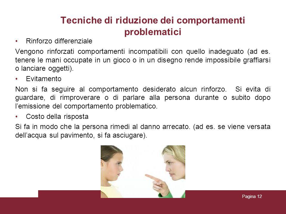 Tecniche di riduzione dei comportamenti problematici Rinforzo differenziale Vengono rinforzati comportamenti incompatibili con quello inadeguato (ad e