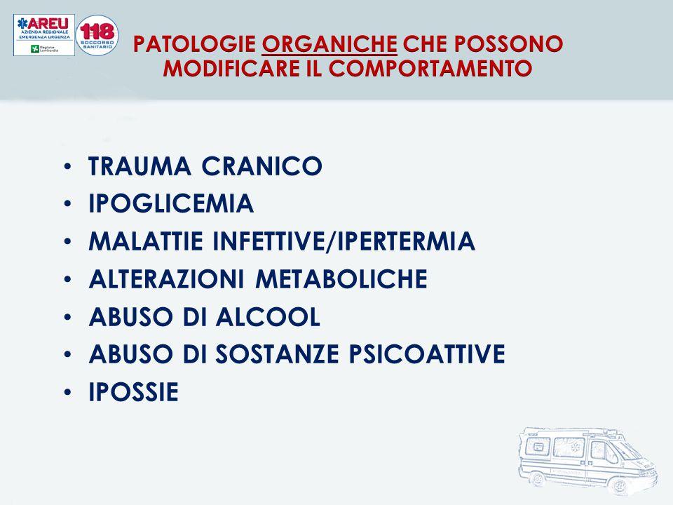 TRAUMA CRANICO IPOGLICEMIA MALATTIE INFETTIVE/IPERTERMIA ALTERAZIONI METABOLICHE ABUSO DI ALCOOL ABUSO DI SOSTANZE PSICOATTIVE IPOSSIE
