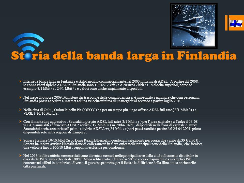Storia della banda larga in Finlandia  Internet a banda larga in Finlandia è stato lanciato commercialmente nel 2000 in forma di ADSL. A partire dal