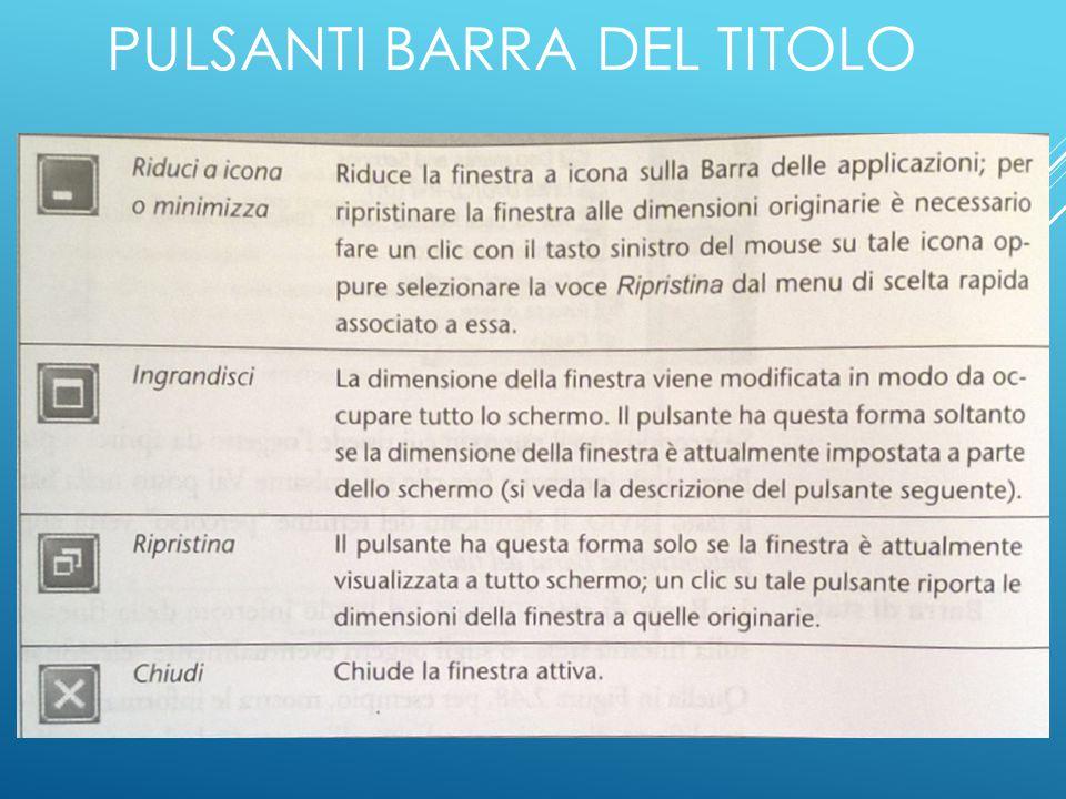 PULSANTI BARRA DEL TITOLO