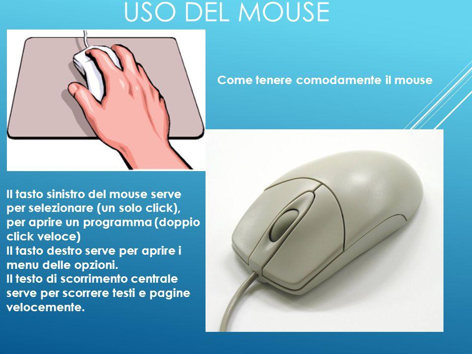 USO DEL MOUSE Come tenere comodamente il mouse Il tasto sinistro del mouse serve per selezionare (un solo click), per aprire un programma (doppio click veloce) Il tasto destro serve per aprire i menu delle opzioni.