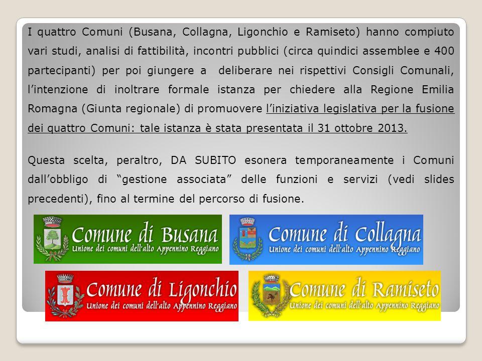 I quattro Comuni (Busana, Collagna, Ligonchio e Ramiseto) hanno compiuto vari studi, analisi di fattibilità, incontri pubblici (circa quindici assembl