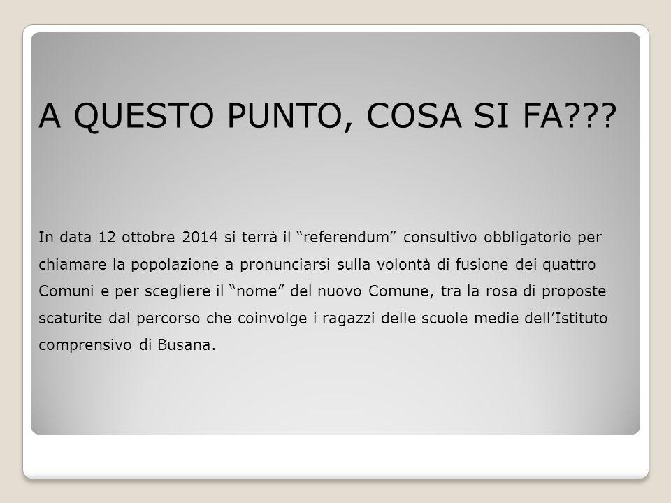 """A QUESTO PUNTO, COSA SI FA??? In data 12 ottobre 2014 si terrà il """"referendum"""" consultivo obbligatorio per chiamare la popolazione a pronunciarsi sull"""