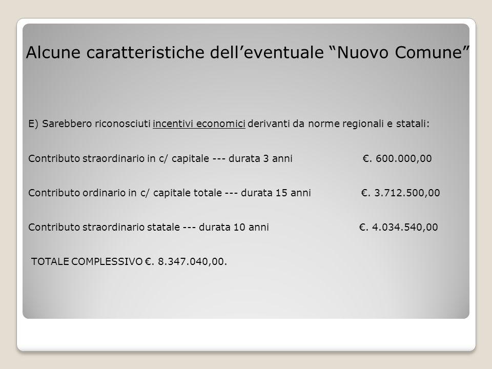 E) Sarebbero riconosciuti incentivi economici derivanti da norme regionali e statali: Contributo straordinario in c/ capitale --- durata 3 anni €. 600