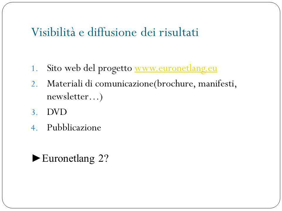Visibilità e diffusione dei risultati 1. Sito web del progetto www.euronetlang.euwww.euronetlang.eu 2. Materiali di comunicazione(brochure, manifesti,