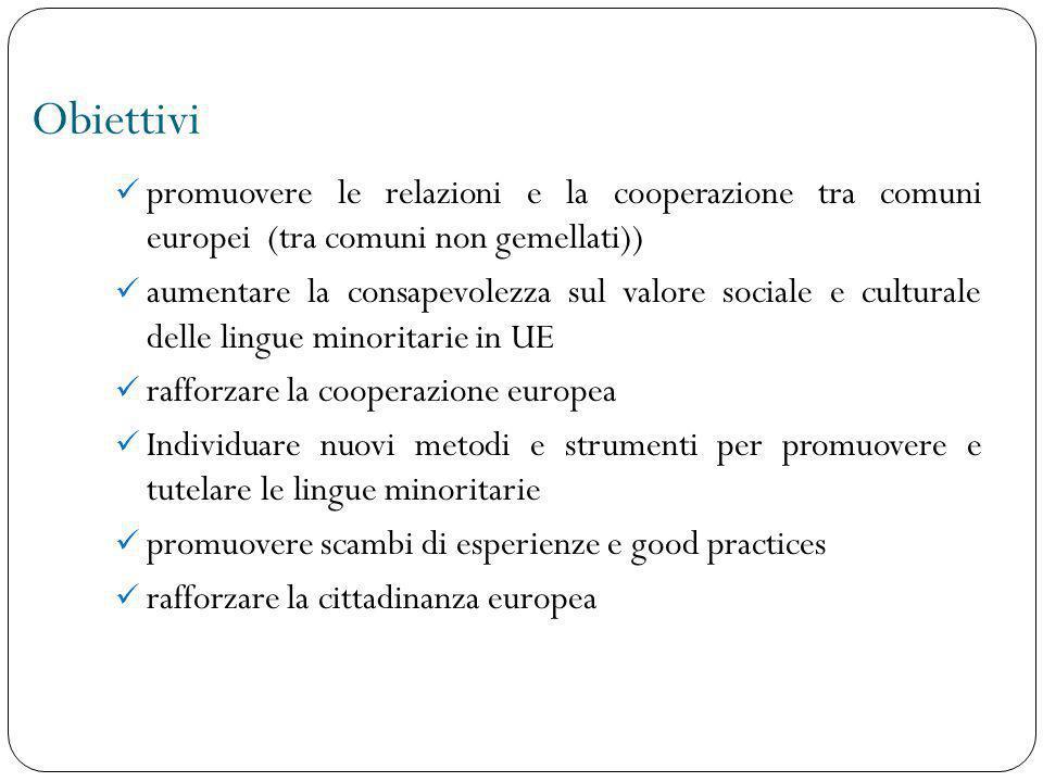 Obiettivi promuovere le relazioni e la cooperazione tra comuni europei (tra comuni non gemellati)) aumentare la consapevolezza sul valore sociale e cu