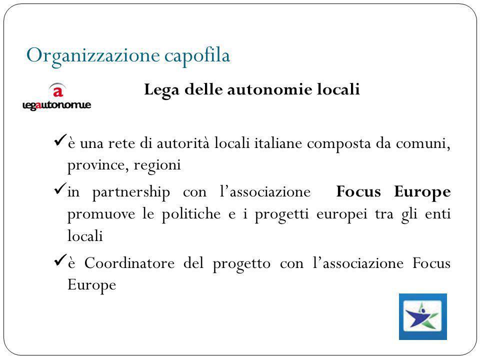 Organizzazione capofila Lega delle autonomie locali è una rete di autorità locali italiane composta da comuni, province, regioni in partnership con l'
