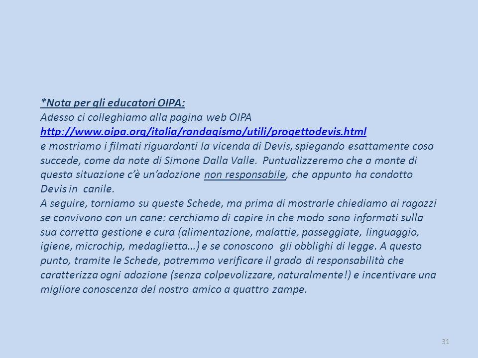 31 *Nota per gli educatori OIPA: Adesso ci colleghiamo alla pagina web OIPA http://www.oipa.org/italia/randagismo/utili/progettodevis.html e mostriamo