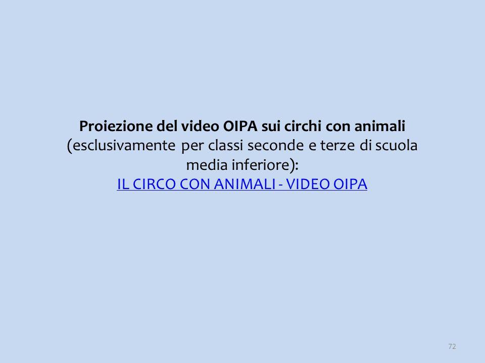 72 Proiezione del video OIPA sui circhi con animali (esclusivamente per classi seconde e terze di scuola media inferiore): IL CIRCO CON ANIMALI - VIDE