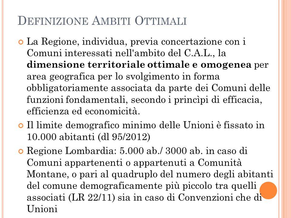 D EFINIZIONE A MBITI O TTIMALI La Regione, individua, previa concertazione con i Comuni interessati nell'ambito del C.A.L., la dimensione territoriale