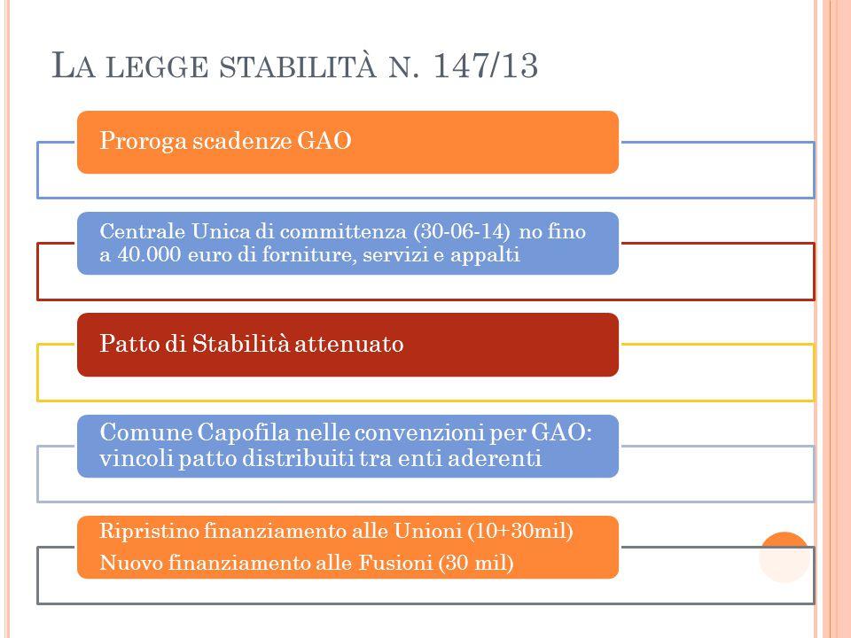 L A LEGGE STABILITÀ N. 147/13 Proroga scadenze GAO Centrale Unica di committenza (30-06-14) no fino a 40.000 euro di forniture, servizi e appalti Patt