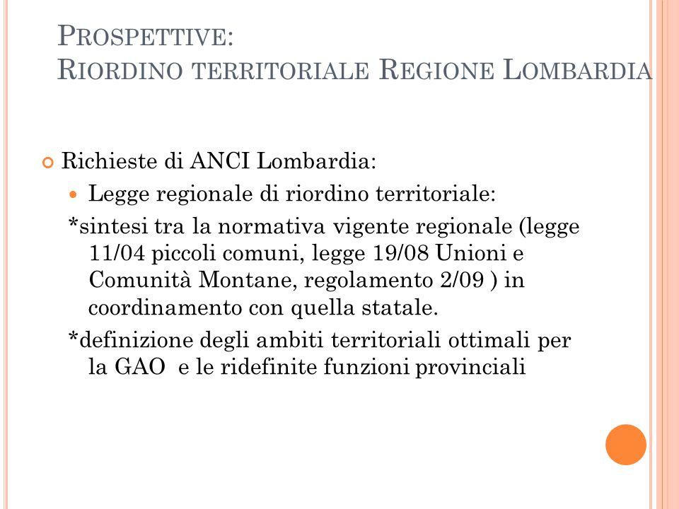 P ROSPETTIVE : R IORDINO TERRITORIALE R EGIONE L OMBARDIA Richieste di ANCI Lombardia: Legge regionale di riordino territoriale: *sintesi tra la norma