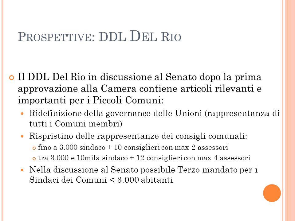 P ROSPETTIVE : DDL D EL R IO Il DDL Del Rio in discussione al Senato dopo la prima approvazione alla Camera contiene articoli rilevanti e importanti p