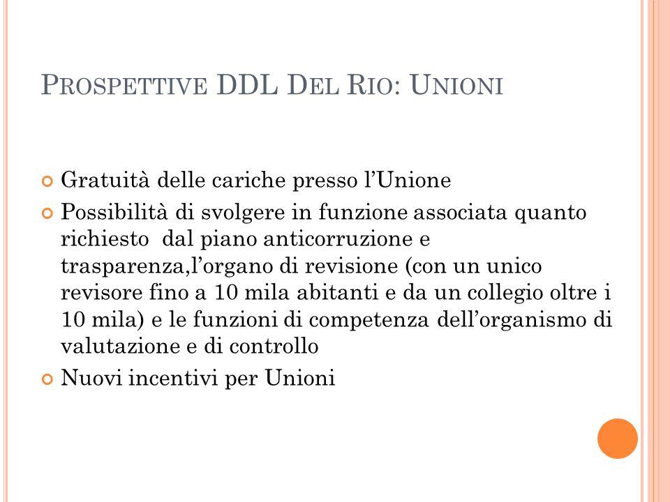 P ROSPETTIVE DDL D EL R IO : U NIONI Gratuità delle cariche presso l'Unione Possibilità di svolgere in funzione associata quanto richiesto dal piano a