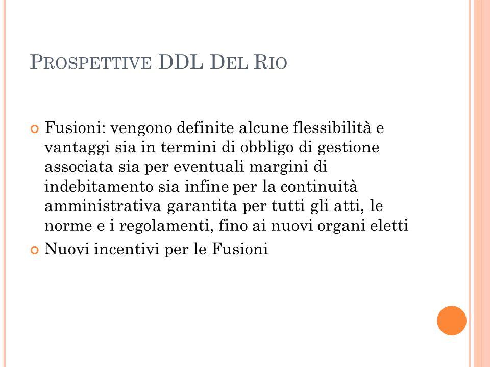 P ROSPETTIVE DDL D EL R IO Fusioni: vengono definite alcune flessibilità e vantaggi sia in termini di obbligo di gestione associata sia per eventuali