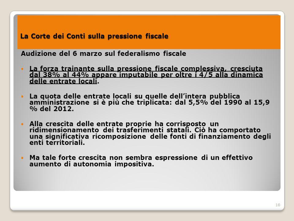 18 La Corte dei Conti sulla pressione fiscale La Corte dei Conti sulla pressione fiscale Audizione del 6 marzo sul federalismo fiscale La forza traina