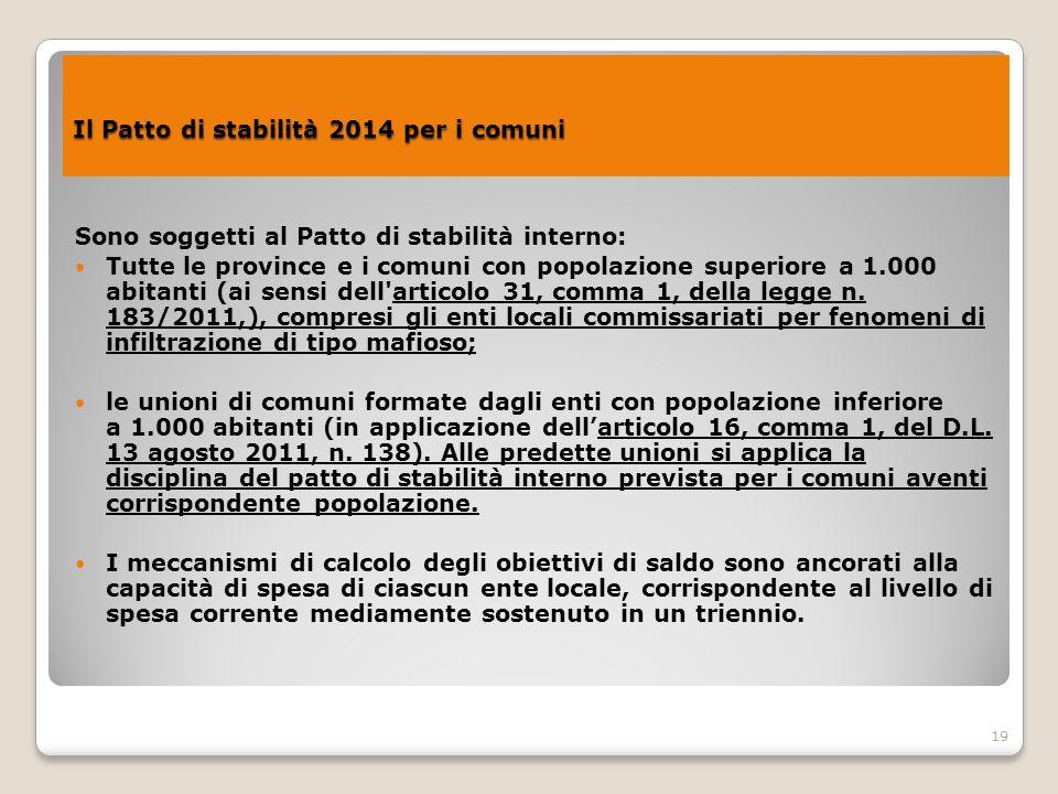 19 Il Patto di stabilità 2014 per i comuni Il Patto di stabilità 2014 per i comuni Sono soggetti al Patto di stabilità interno: Tutte le province e i