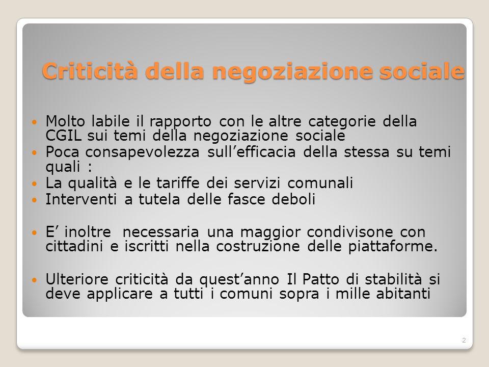 Criticità della negoziazione sociale Molto labile il rapporto con le altre categorie della CGIL sui temi della negoziazione sociale Poca consapevolezz