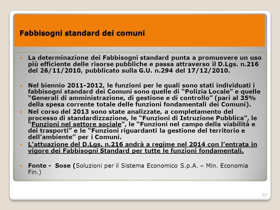22 Fabbisogni standard dei comuni Fabbisogni standard dei comuni La determinazione dei Fabbisogni standard punta a promuovere un uso più efficiente de