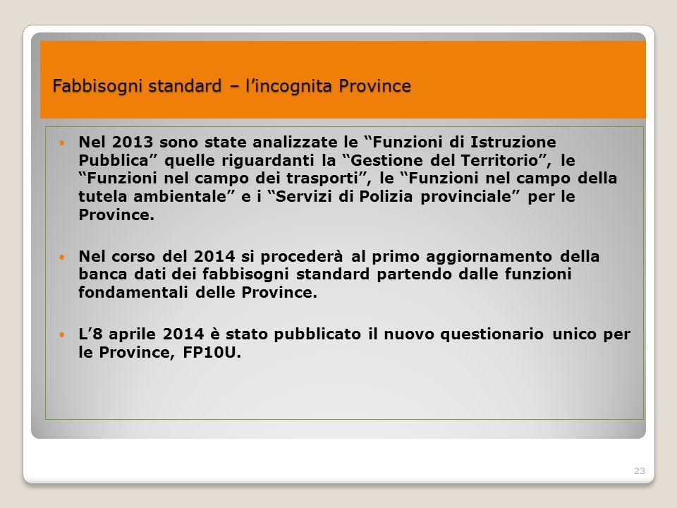 """23 Fabbisogni standard – l'incognita Province Fabbisogni standard – l'incognita Province Nel 2013 sono state analizzate le """"Funzioni di Istruzione Pub"""