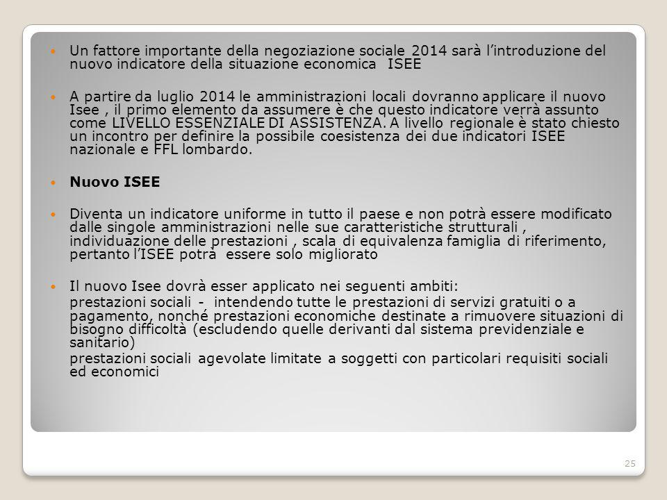 Un fattore importante della negoziazione sociale 2014 sarà l'introduzione del nuovo indicatore della situazione economica ISEE A partire da luglio 201