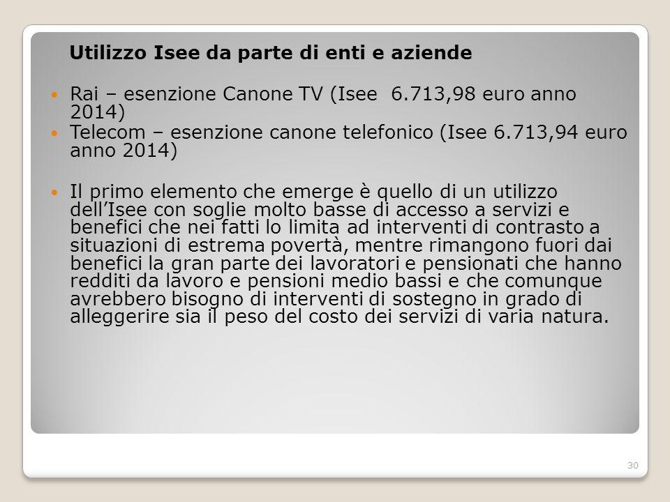 Utilizzo Isee da parte di enti e aziende Rai – esenzione Canone TV (Isee 6.713,98 euro anno 2014) Telecom – esenzione canone telefonico (Isee 6.713,94
