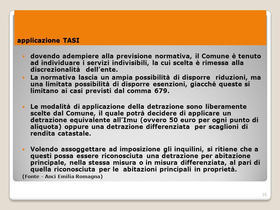 35 applicazione TASI dovendo adempiere alla previsione normativa, il Comune è tenuto ad individuare i servizi indivisibili, la cui scelta è rimessa al