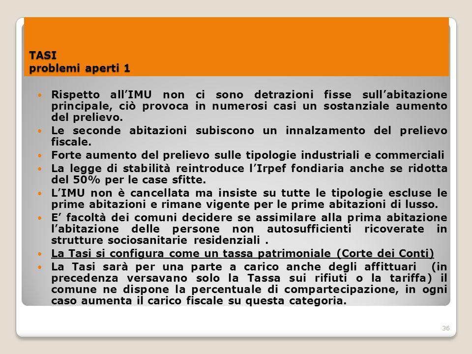 36 TASI problemi aperti 1 Rispetto all'IMU non ci sono detrazioni fisse sull'abitazione principale, ciò provoca in numerosi casi un sostanziale aument