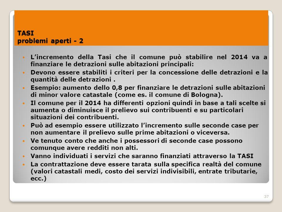 37 TASI problemi aperti - 2 L'incremento della Tasi che il comune può stabilire nel 2014 va a finanziare le detrazioni sulle abitazioni principali: De