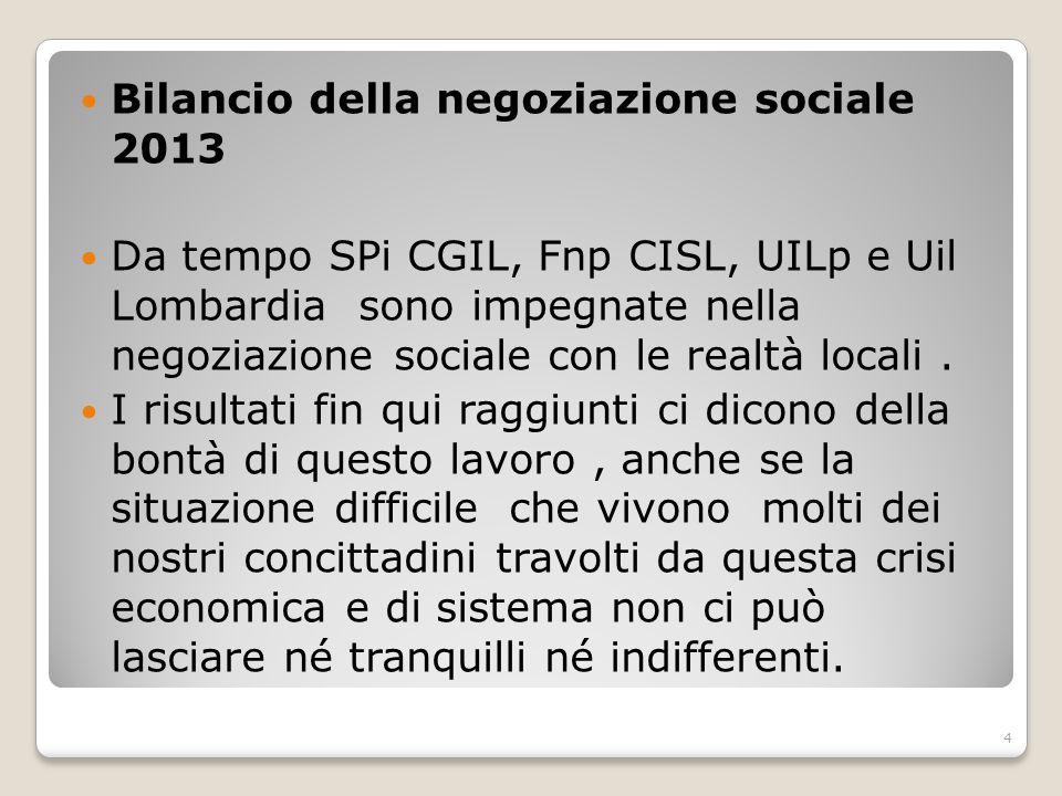 Bilancio della negoziazione sociale 2013 Da tempo SPi CGIL, Fnp CISL, UILp e Uil Lombardia sono impegnate nella negoziazione sociale con le realtà loc
