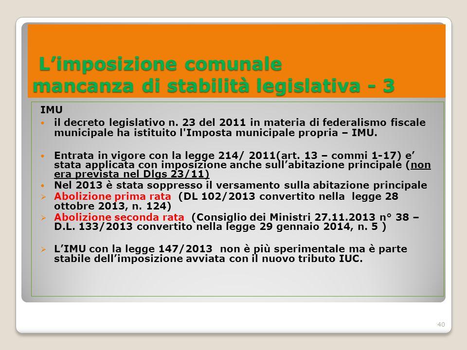 40 L'imposizione comunale mancanza di stabilità legislativa - 3 L'imposizione comunale mancanza di stabilità legislativa - 3 IMU il decreto legislativ