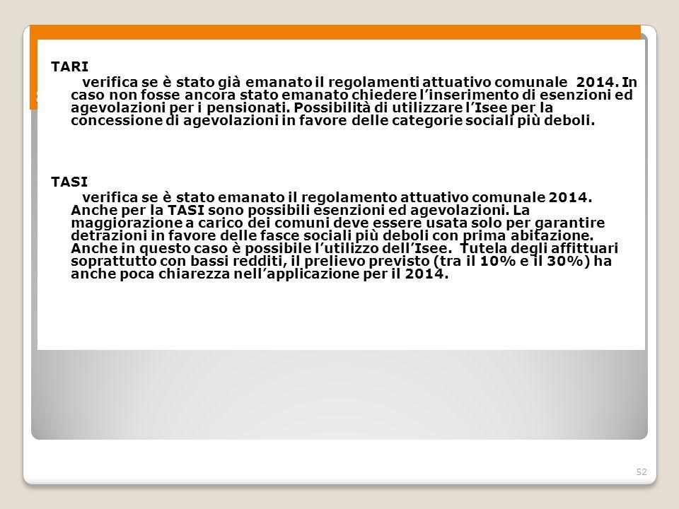 52 Spazi di contrattazione sociale territoriale 2 TARI verifica se è stato già emanato il regolamenti attuativo comunale 2014. In caso non fosse ancor