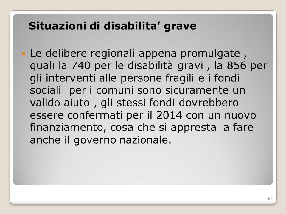 Situazioni di disabilita' grave Le delibere regionali appena promulgate, quali la 740 per le disabilità gravi, la 856 per gli interventi alle persone