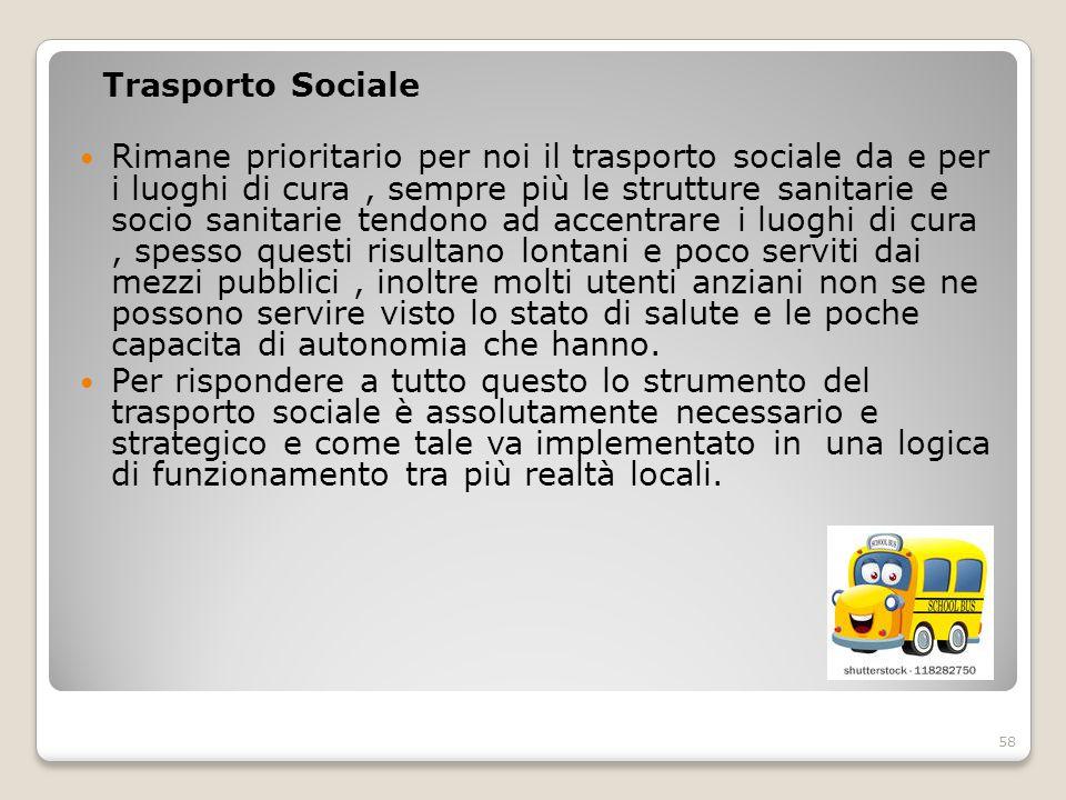 Trasporto Sociale Rimane prioritario per noi il trasporto sociale da e per i luoghi di cura, sempre più le strutture sanitarie e socio sanitarie tendo