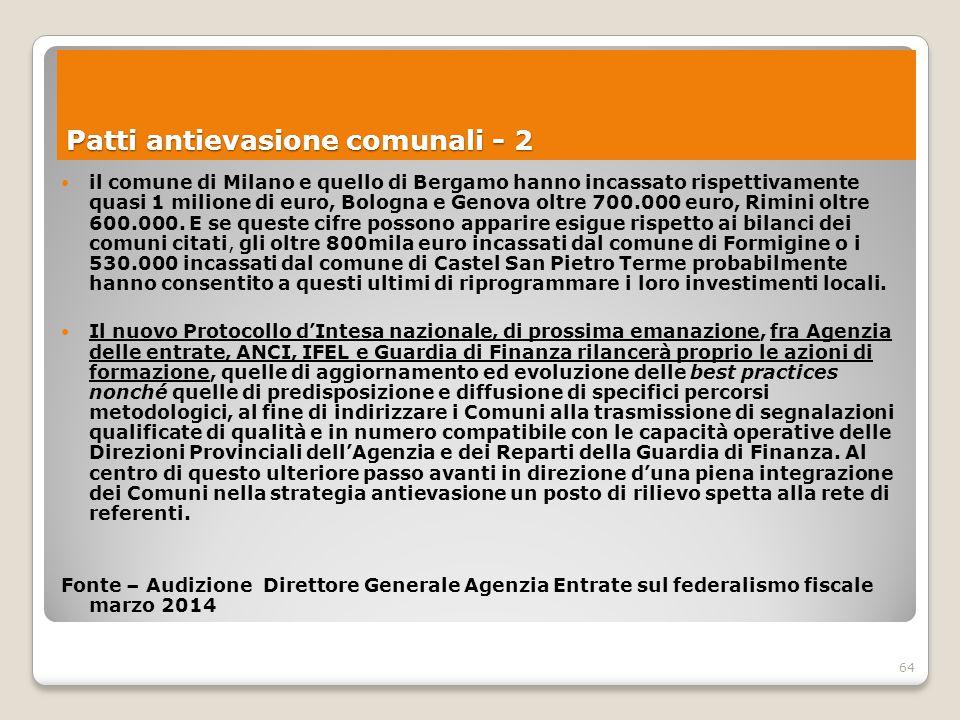 64 il comune di Milano e quello di Bergamo hanno incassato rispettivamente quasi 1 milione di euro, Bologna e Genova oltre 700.000 euro, Rimini oltre