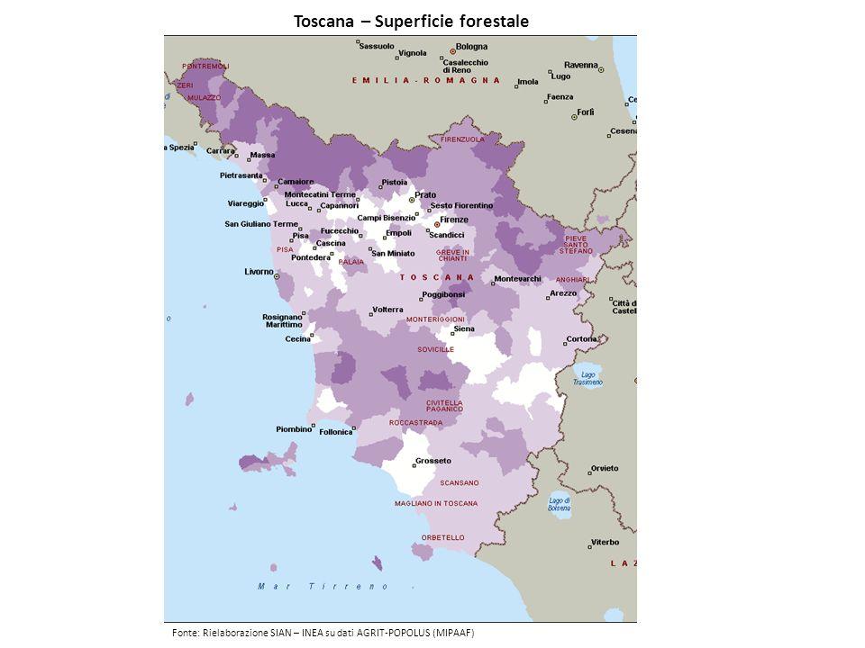 Toscana – Superficie forestale Fonte: Rielaborazione SIAN – INEA su dati AGRIT-POPOLUS (MIPAAF)