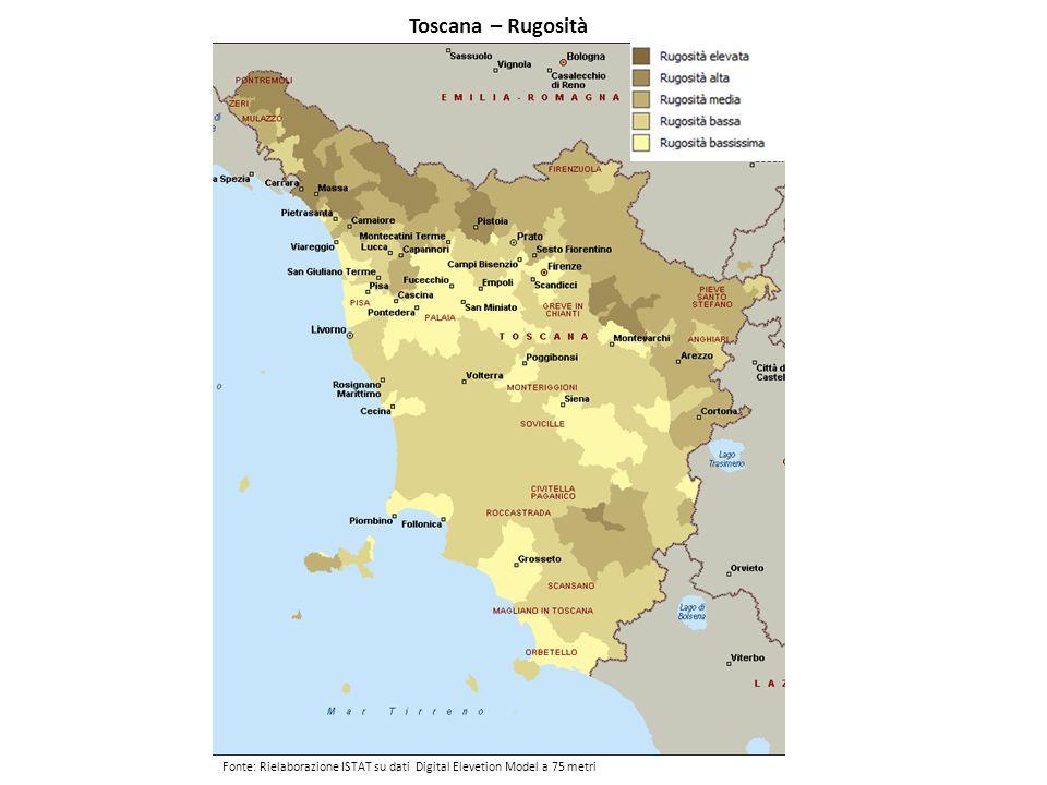 Toscana – Rugosità Fonte: Rielaborazione ISTAT su dati Digital Elevetion Model a 75 metri