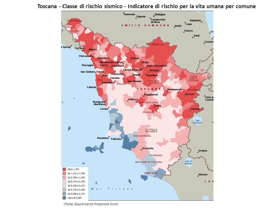 Toscana - Classe di rischio sismico - Indicatore di rischio per la vita umana per comune (Fonte: Dipartimento Protezione Civile)