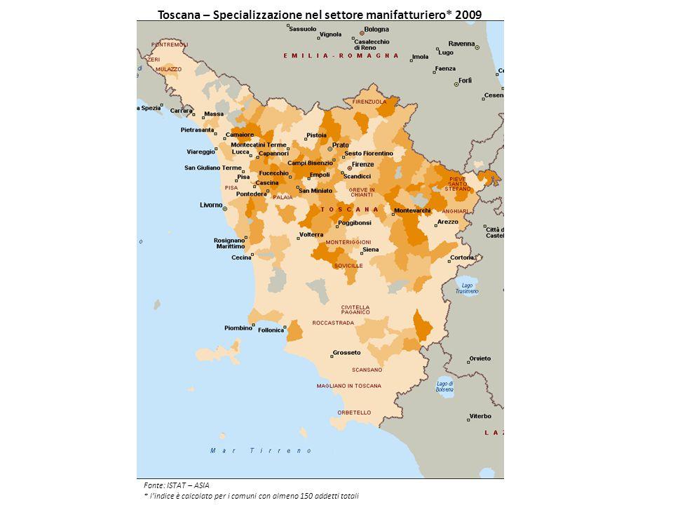 Toscana – Specializzazione nel settore manifatturiero* 2009 Fonte: ISTAT – ASIA * l'indice è calcolato per i comuni con almeno 150 addetti totali