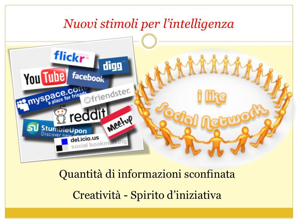 Nuovi stimoli per l'intelligenza Quantità di informazioni sconfinata Creatività - Spirito d'iniziativa