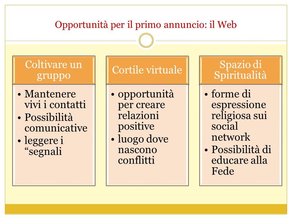 Opportunità per il primo annuncio: il Web Coltivare un gruppo Mantenere vivi i contattiMantenere vivi i contatti Possibilità comunicativePossibilità c
