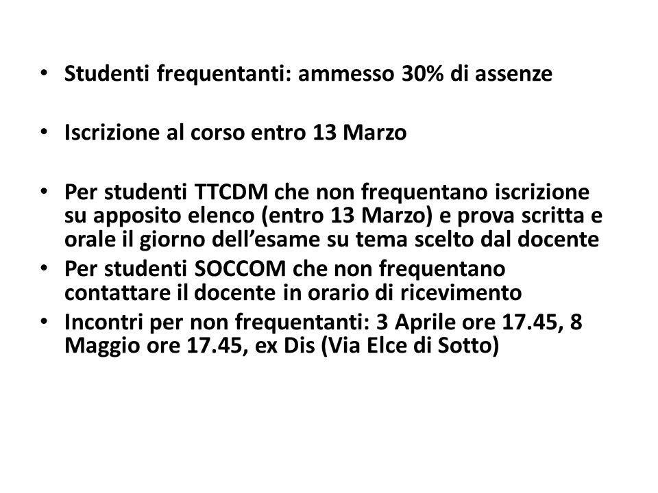 Studenti frequentanti: ammesso 30% di assenze Iscrizione al corso entro 13 Marzo Per studenti TTCDM che non frequentano iscrizione su apposito elenco