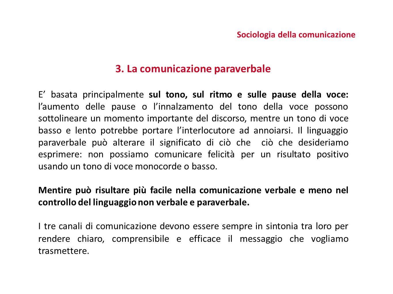 3. La comunicazione paraverbale E' basata principalmente sul tono, sul ritmo e sulle pause della voce: l'aumento delle pause o l'innalzamento del tono