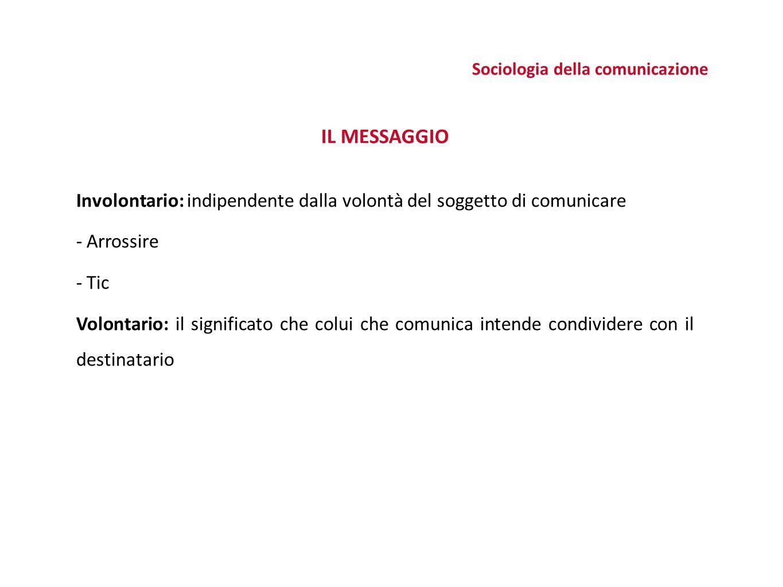 IL MESSAGGIO Involontario: indipendente dalla volontà del soggetto di comunicare - Arrossire - Tic Volontario: il significato che colui che comunica intende condividere con il destinatario Sociologia della comunicazione