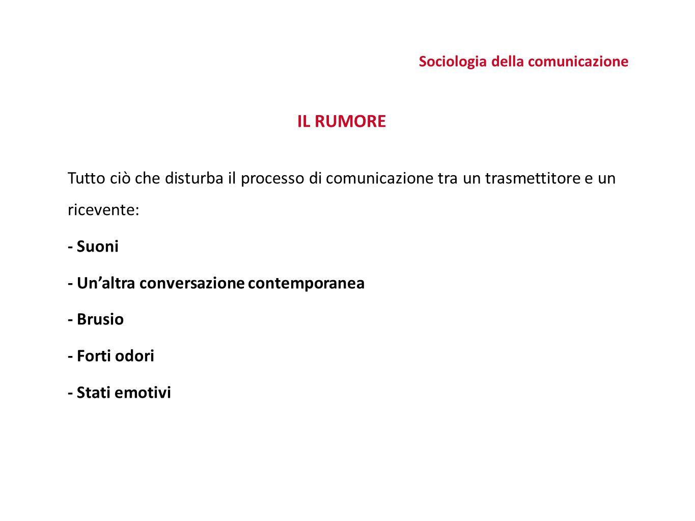 IL RUMORE Tutto ciò che disturba il processo di comunicazione tra un trasmettitore e un ricevente: - Suoni - Un'altra conversazione contemporanea - Brusio - Forti odori - Stati emotivi Sociologia della comunicazione