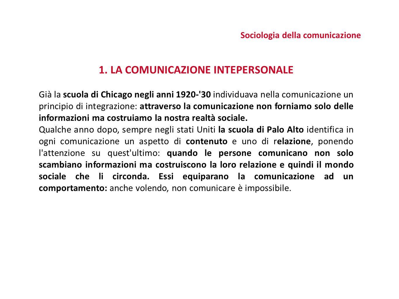 Sociologia della comunicazione 1.