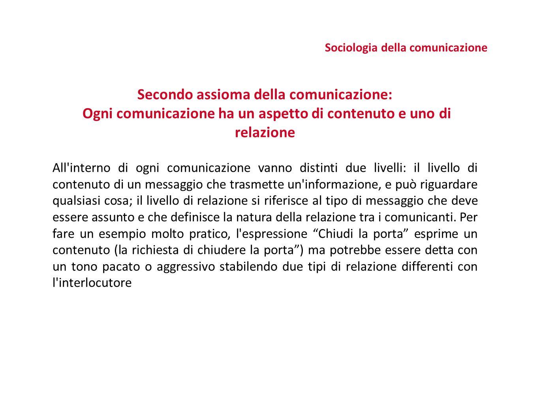 E' accertato che il processo di comunicazione può realizzarsi su tre diversi livelli: Livello verbale (con parole) Livello non verbale (movimenti, gesti e postura) Livello paraverbale (tono di voce, pause) Sociologia della comunicazione