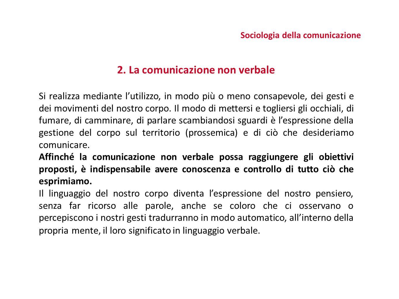 2. La comunicazione non verbale Si realizza mediante l'utilizzo, in modo più o meno consapevole, dei gesti e dei movimenti del nostro corpo. Il modo d